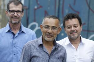 Hamilton Filho, da Cabra Quente, Valdir Oliveira, diretor, e Maurício Correia, da 3Brasis. foto Ricardo Labastier
